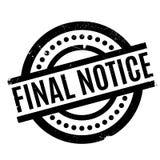 Sello de goma final del aviso Fotografía de archivo libre de regalías