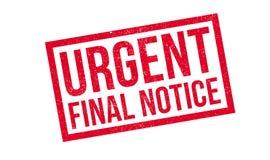 Sello de goma final urgente del aviso Imagen de archivo libre de regalías