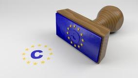 Sello de goma de madera con la bandera de la UE y un símbolo de los derechos reservados fotografía de archivo libre de regalías