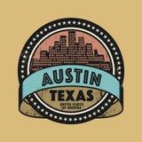 Sello de goma o etiqueta con el nombre de Austin, Tejas del Grunge ilustración del vector