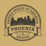 Sello de goma o etiqueta del Grunge con el nombre de Phoenix, Arizona libre illustration