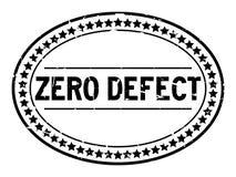 Sello de goma oval de la palabra negra del defecto cero del Grunge en el fondo blanco foto de archivo libre de regalías