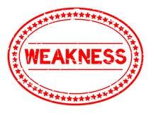 Sello de goma oval de la palabra roja de la debilidad del Grunge en el fondo blanco imagen de archivo libre de regalías