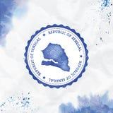 Sello de goma redondo de la acuarela de Senegal con stock de ilustración