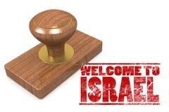 Sello de goma rojo con la recepción a Israel Fotografía de archivo