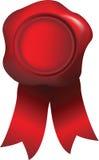 Sello de la aprobación rojo con el sello de la cera Fotos de archivo libres de regalías