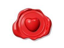 Sello de la cera de la tarjeta del día de San Valentín Fotografía de archivo