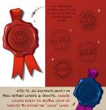 Sello de la cera - ventas y exento de impuestos stock de ilustración
