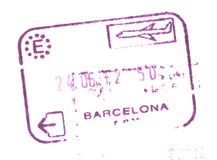Sello de la entrada de aduanas del pasaporte en el aeropuerto de Barcelona, España Foto de archivo