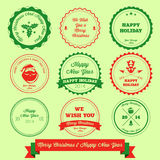 Sello de la etiqueta de la Feliz Navidad y de la Feliz Año Nuevo Fotos de archivo