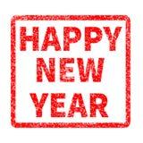 Sello de la Feliz Año Nuevo en el fondo blanco Imagen de archivo