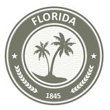 Sello de la Florida - etiqueta con las palmeras ilustración del vector