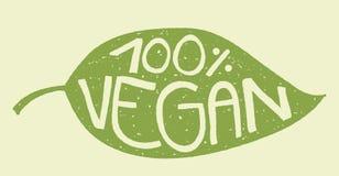 Sello de la hoja del vegano stock de ilustración