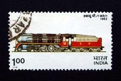 Sello de la India con el tren Imagen de archivo libre de regalías