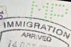Sello de la inmigración Fotografía de archivo