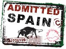 Sello de la inmigración - España con los sellos ilustración del vector
