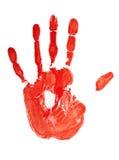 Sello de la mano coloreada roja Foto de archivo libre de regalías