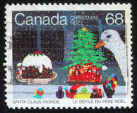 Sello de la Navidad impreso en Canadá imágenes de archivo libres de regalías