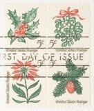 Sello de las plantas de la Navidad de la vendimia Fotos de archivo libres de regalías