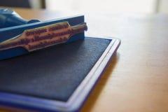 Sello de los cartuchos del sello y de tinta del mobiliario de oficinas Foto de archivo