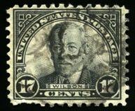 Sello de los E.E.U.U. del vintage de presidente Wilson Imagen de archivo libre de regalías