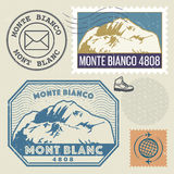 Sello de los posts fijado con Mont Blanc Monte Bianco Imagenes de archivo
