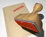 Sello de madera de la aprobación Imágenes de archivo libres de regalías
