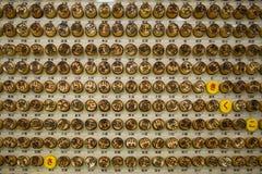 Sello de madera de la autobomba del alfabeto japonés Fotos de archivo libres de regalías