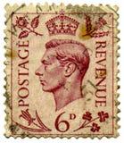 Sello de rey George VI. Imagen de archivo