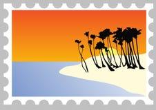 Sello de una playa en la puesta del sol ilustración del vector