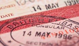 Sello de visa británico Imagen de archivo libre de regalías