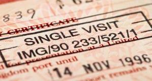 Sello de visa británico Fotografía de archivo libre de regalías