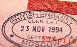 Sello de visa británico Imágenes de archivo libres de regalías