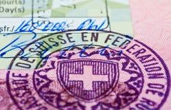 Sello de visa suizo Fotos de archivo