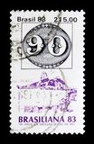 sello de 140 year ` Olhos-de-boi `, serie internacional de la exposición BRASILIANA del sello, circa 1983 Imagen de archivo libre de regalías