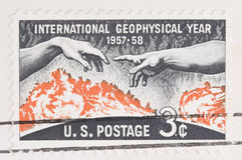 Sello del año geofísico internacional Imágenes de archivo libres de regalías