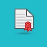 Sello del certificado y del rojo del icono del vector Contrato del ejemplo foto de archivo libre de regalías