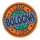 Sello del color del Grunge con Bolonia del amor del texto I dentro stock de ilustración