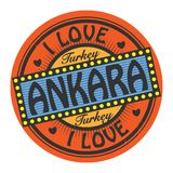 Sello del color del Grunge con el amor Ankara del texto I dentro libre illustration