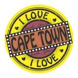 Sello del color del Grunge con el amor Cape Town del texto I dentro Foto de archivo