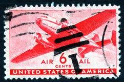 Sello del correo aéreo 8c de los E.E.U.U. de la vendimia Imágenes de archivo libres de regalías