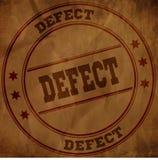 Sello del DEFECTO en el papel arrugado viejo marrón stock de ilustración