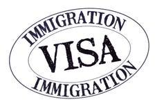 Sello del documento de la visa de la inmigración del pasaporte aislado en el fondo blanco, primer imagen de archivo
