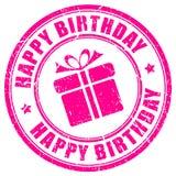Sello del feliz cumpleaños Foto de archivo libre de regalías