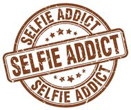sello del marrón del adicto al selfie stock de ilustración