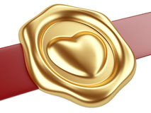 Sello del oro con el corazón y la cinta roja Fotos de archivo