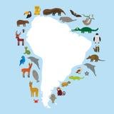 Sello del palo del lama del tucán del oso hormiguero de la pereza de Suramérica Fotografía de archivo