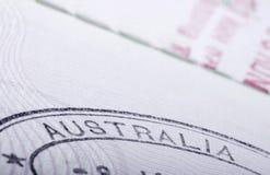 Sello del pasaporte de Australia Imágenes de archivo libres de regalías