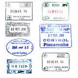 Sello del pasaporte: Perú, Egipto, Alemania, Hungría, etc Fotos de archivo libres de regalías
