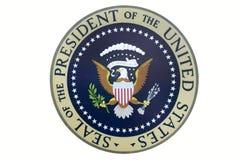 Sello del Presidente de los Estados Unidos en la visualización en la biblioteca presidencial y el museo, Simi Valley, CA de Ronal imagenes de archivo